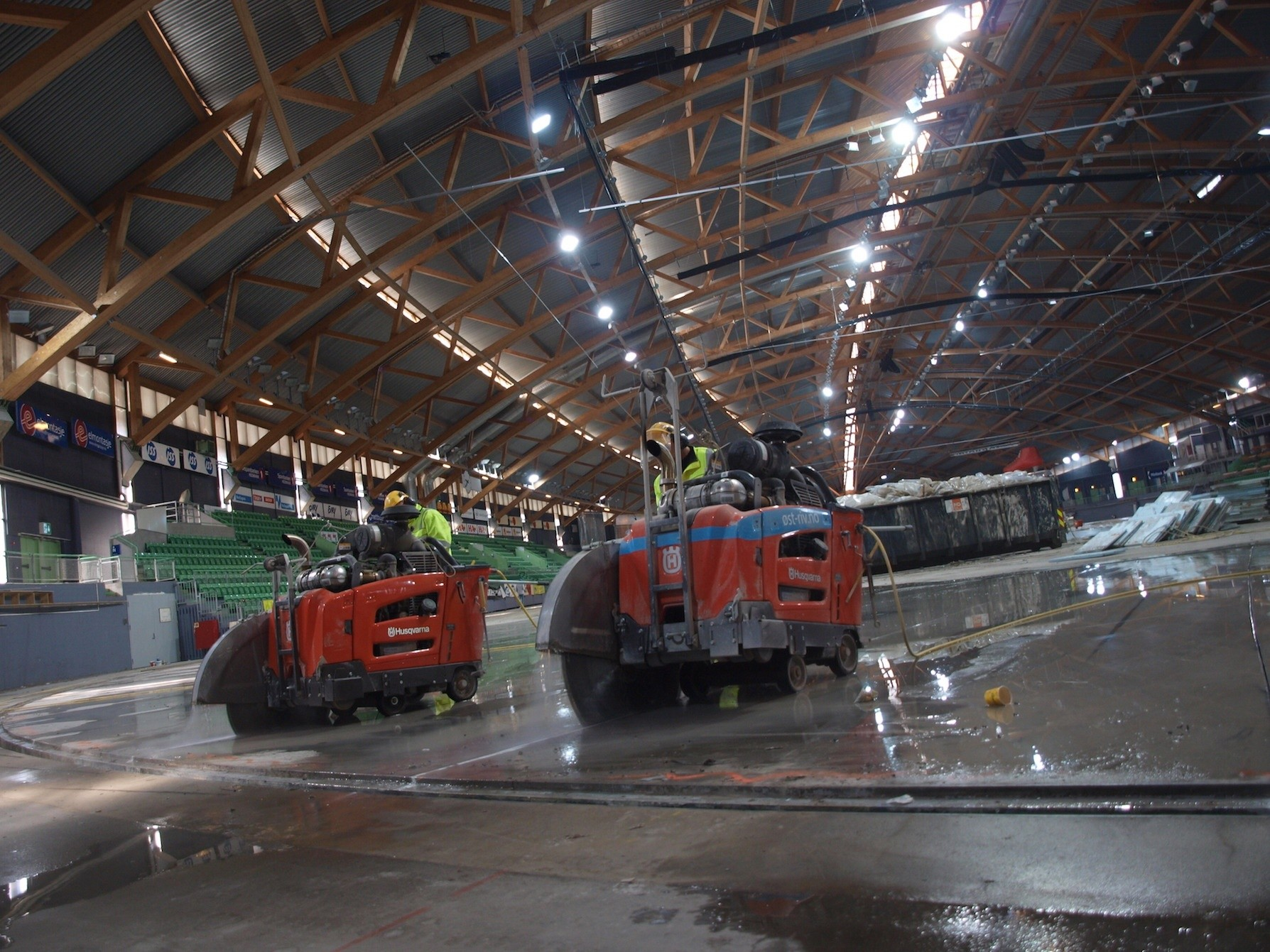 Husqvarna cuts Olympic arena to pieces
